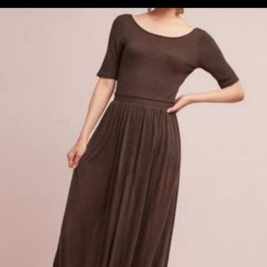 Anthropologie Bordeaux Maxi Dress in Cocoa brown